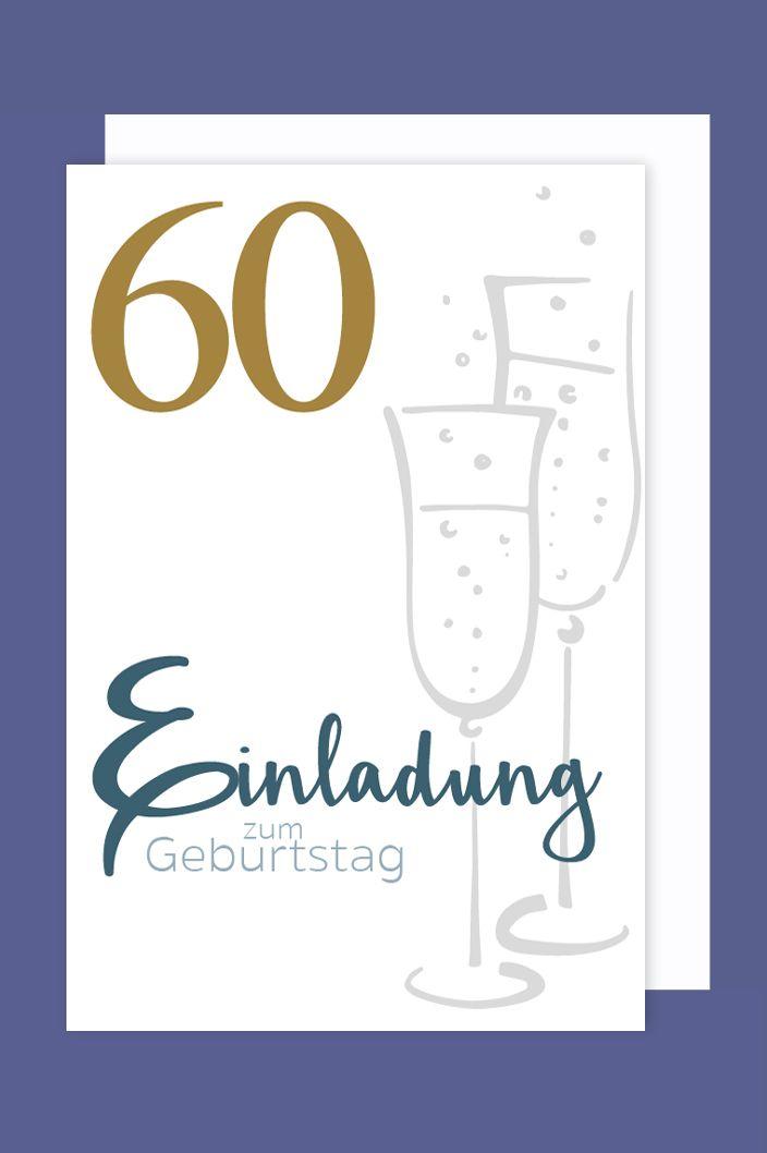 Einladungskarte 60 Geburtstag 5er Set Gold Druck Sekt 5 Karten 15x11cm