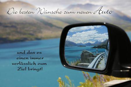 Neues Auto Yabue Foto-Karte Grußkarte Glückwunsch Seitenspiegel 16x11cm