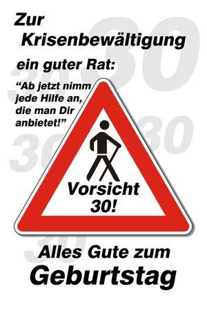 30 Geburtstag Yabue Foto-Karte Grußkarte Humor Vorsicht Krise 16x11cm