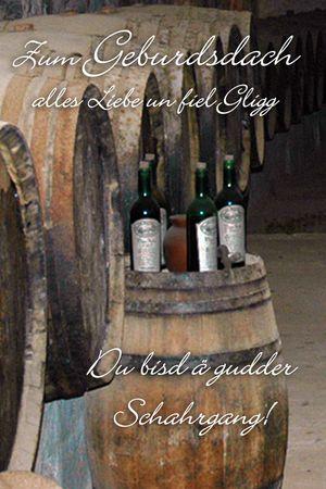 Sächsisch Geburdsdach Geburtstag Yabue Foto-Karte Grußkarte Wein Fass 16x11cm