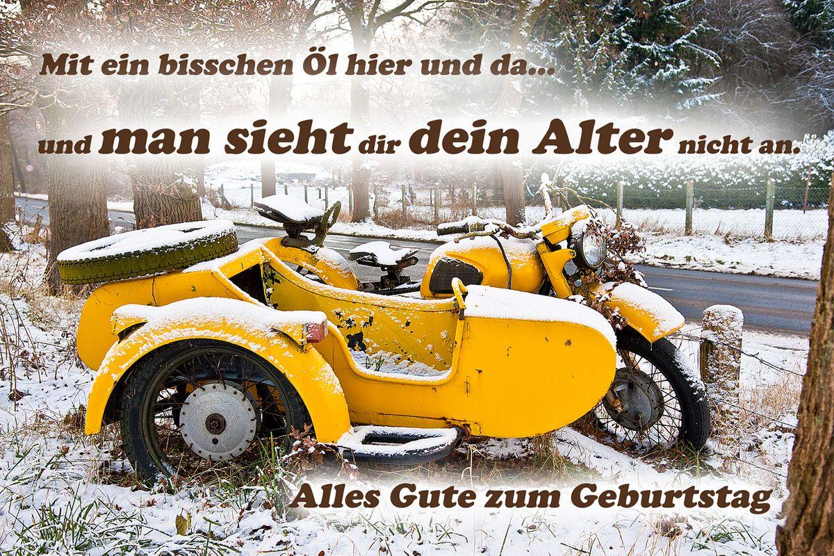 Geburtstag Yabue Foto Karte Humor Grusskarte Manner Oldtimer Biker