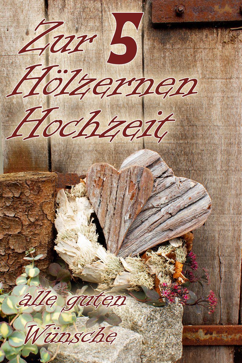 Hölzerne Hochzeit 5 Yabue Foto-Karte Grußkarte Holzherz 16x11cm
