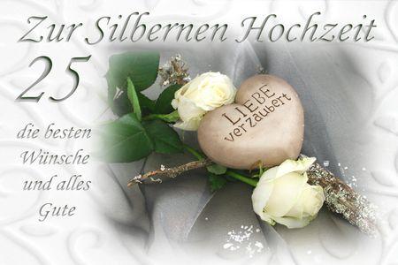 Silber Hochzeit 25 Jahre Yabue Foto-Karte Grußkarte Liebes Stein 16x11cm