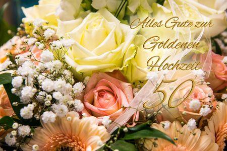 Goldhochzeit 50 Jahre Yabue Foto-Karte Grußkarte Rosen Blumen 16x11cm
