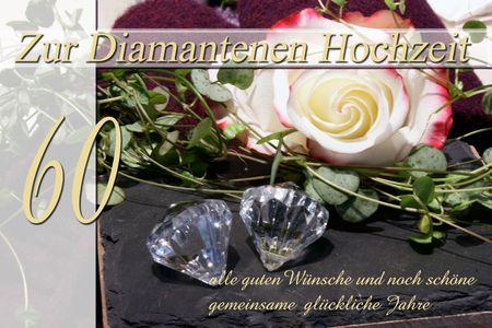 Diamanthochzeit 60 Jahre Yabue Foto-Karte Grußkarte Rosenkopf 16x11cm