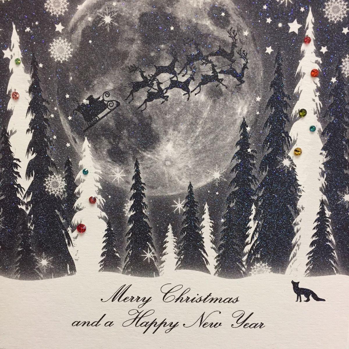 Swarovski Elements Weihnachten Grußkarte Neujahr Winter 16x16cm