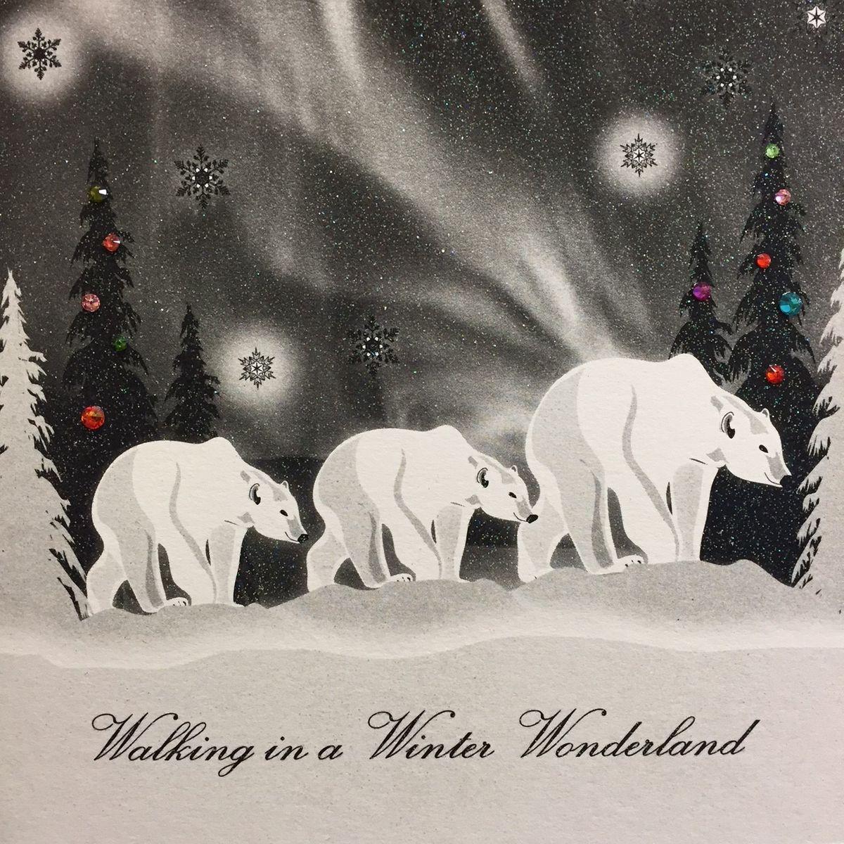 Swarovski Elements Weihnachten Grußkarte Eisbären 16x16cm