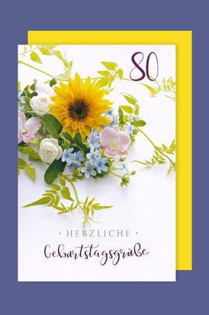 80 Geburtstag Karte Grußkarte Präge Foliendruck Grüße 16x11cm