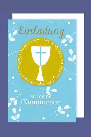 Kommunion Einladungen Karte 5er Set Kelch Kreuz Kreis 5 Grußkarten C6 neu 2019
