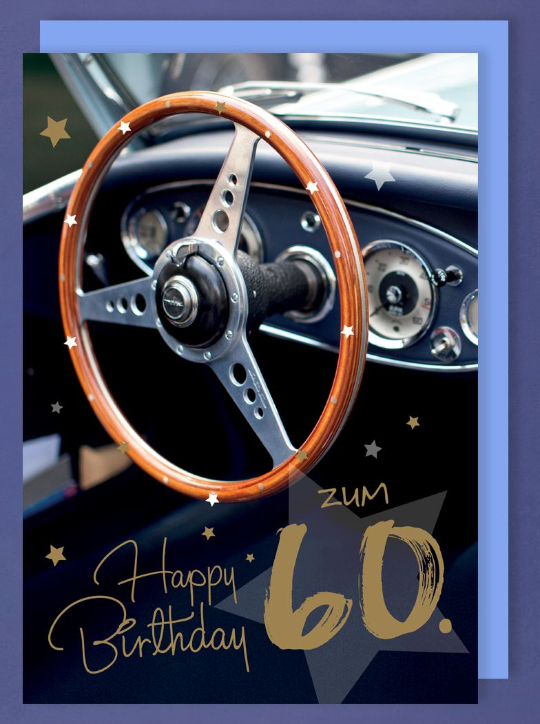 Riesen Karte 60 Geburtstag Grusskarte Foliendruck Auto Oldtimer A4 514540
