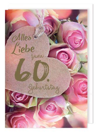Riesen Karte 60 Geburtstag Grußkarte Foliendruck Herz Rosenköpfe A4