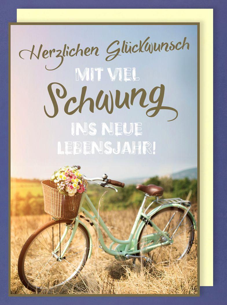 Riesen Karte Geburtstag Grusskarte Foliendruck Fahrrad Natur A4 514545