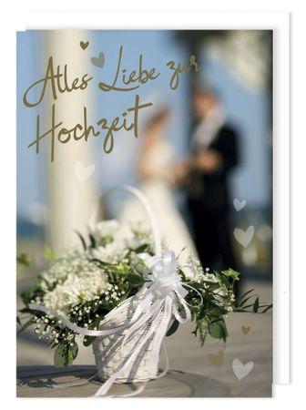 Riesen Karte Hochzeit Grußkarte Foliendruck Trauung Blumenstrauß A4