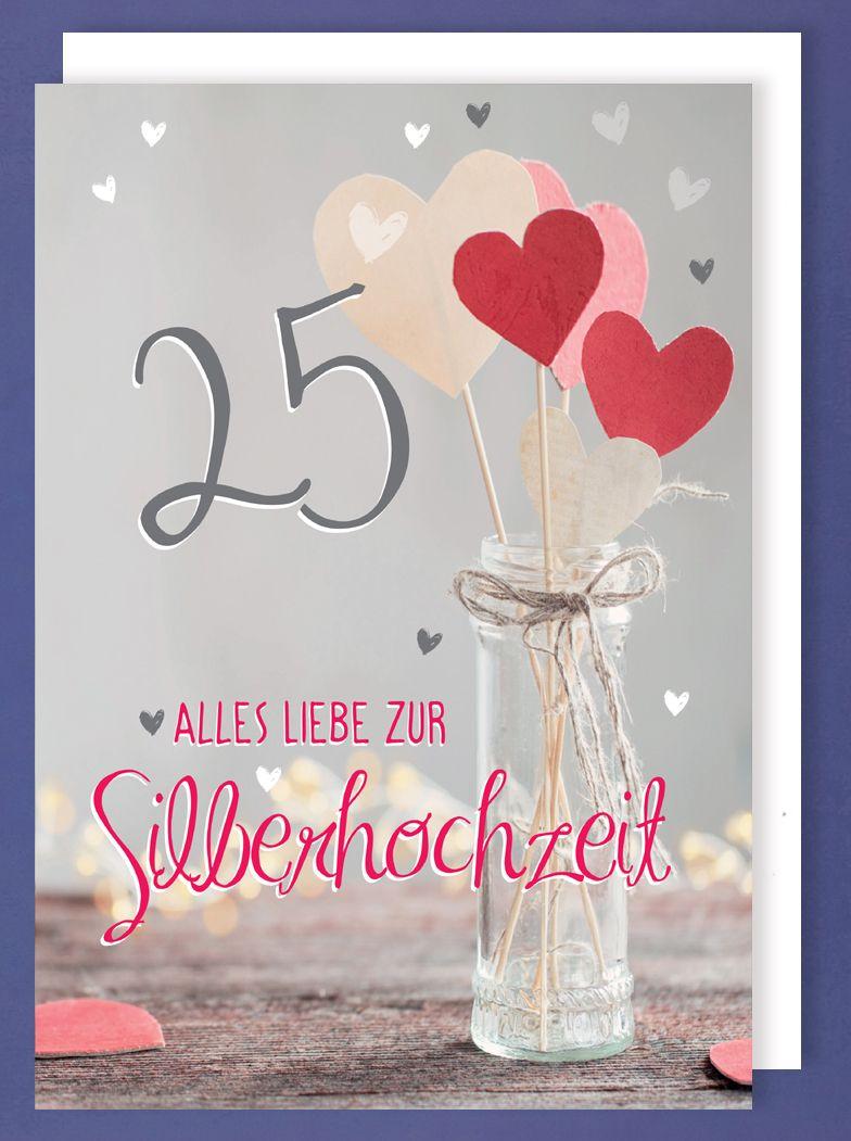 Karte Silberhochzeit Text.Riesen Karte Silberhochzeit 25 Grusskarte Foliendruck Herzen A4 Avancarte