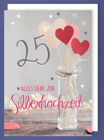 Riesen Karte Silberhochzeit 25 Grußkarte Foliendruck Herzen A4