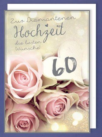 Riesen Karte Diamant Hochzeit 60 Grußkarte Foliendruck Rosen A4