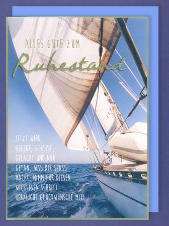 Riesen Karte Ruhestand Rente Pension Grußkarte Foliendruck Segelboot A4