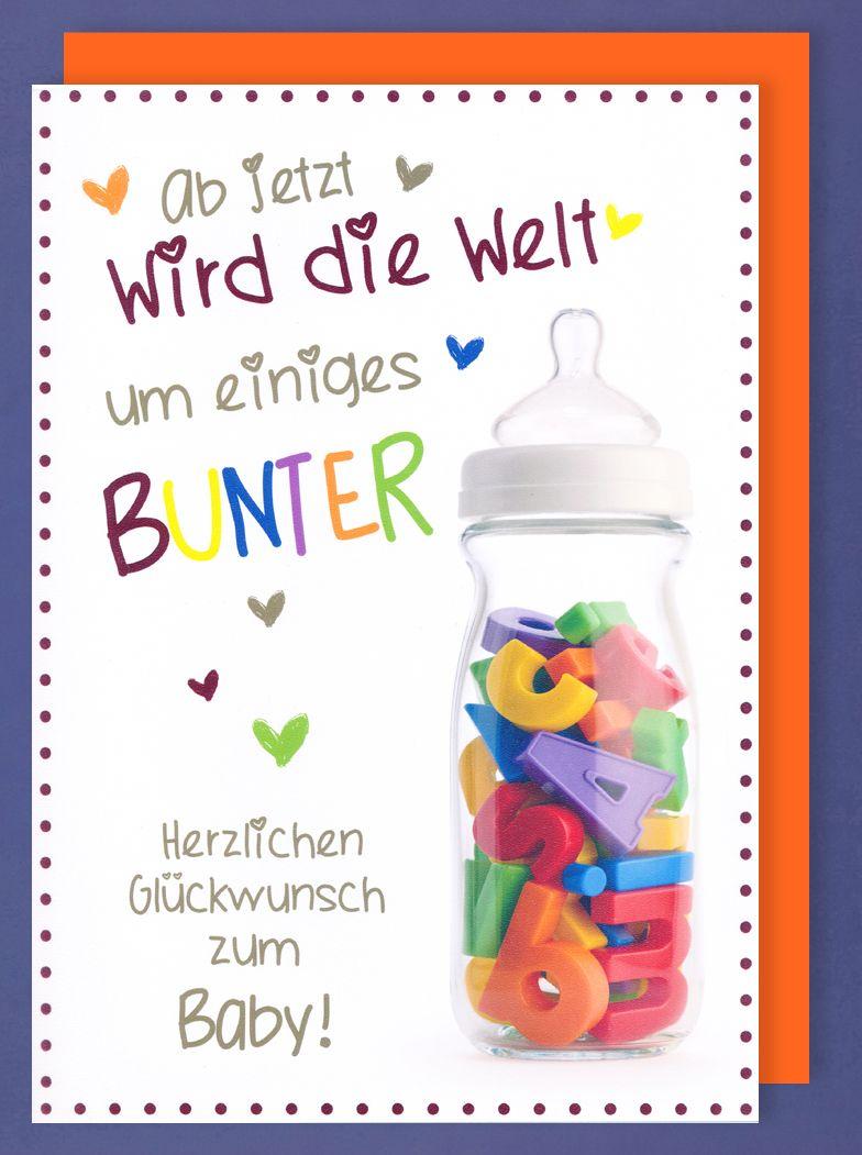 Riesen Karte Geburt Grußkarte Foliendruck Goldene Baby Flasche A4