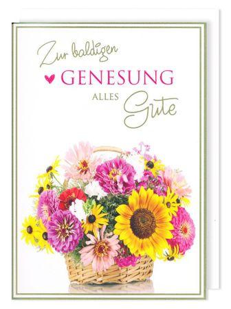 Riesen Karte Gesundheit Grußkarte Foliendruck Genesung Blumen A4