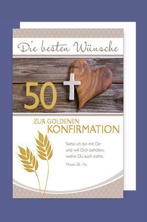 50 Goldene Konfirmation Karte Grußkarte Kreuz Holzherz 16x11cm