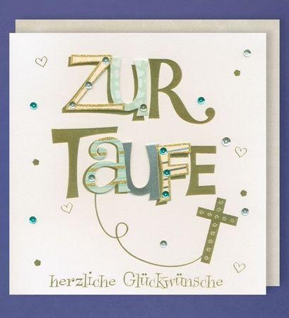 Taufe Grußkarte Handmade Karte  Applikationen Kreuz Gold 21x21cm