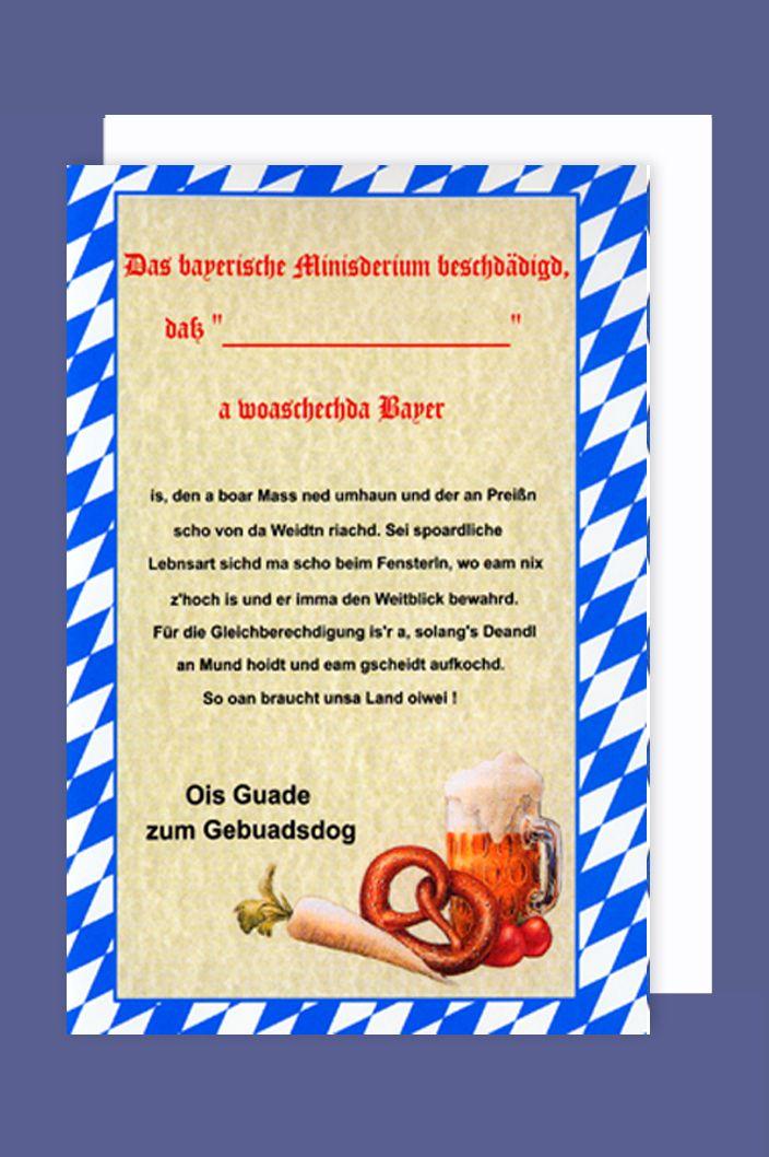 Bayern Geburtstag Gebuadsdog Karte Grußkarte Urkunde 16x11cm