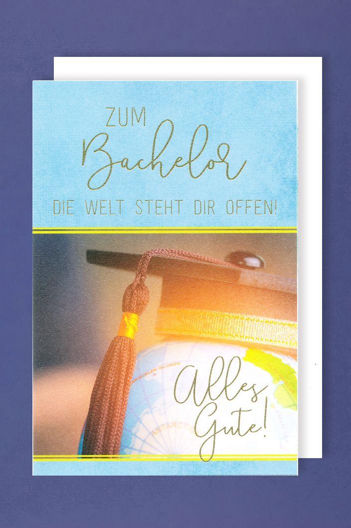 Bachelor Prüfung Grußkarte Karte Hut Weltkugel 16x11cm