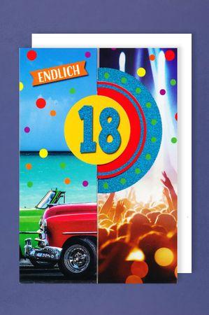 18 Geburtstag Glitter Männer Karte Grußkarte 3x klappbar Auto 16x11cm