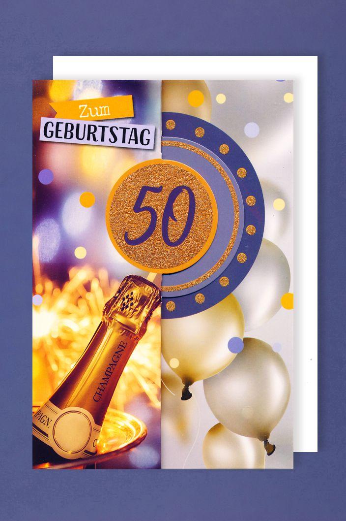 Karte 50 Geburtstag.50 Geburtstag Frauen Glitter Karte Grusskarte 3x Klappbar Champagne 16x11cm Avancarte