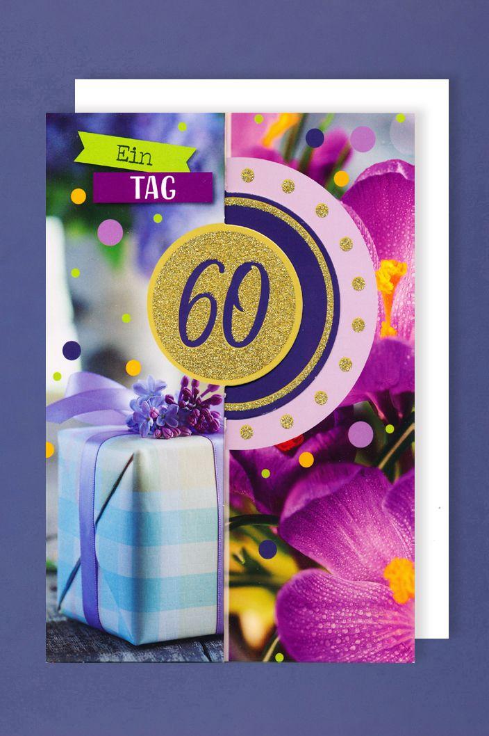 60 Geburtstag Frauen Glitter Karte Grußkarte 3x klappbar
