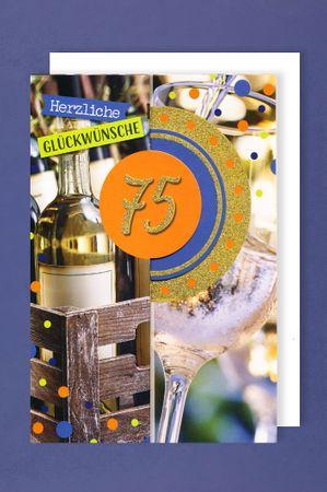 75 Geburtstag Männer Glitter Karte Grußkarte 3x klappbar Wein 16x11cm