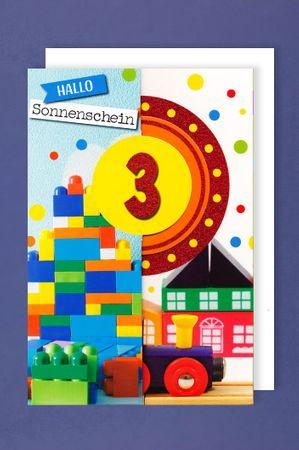3 Geburtstag Junge Glitter Karte Grußkarte 3x klappbar Bausteine 16x11cm