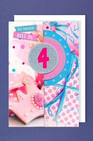 4 Geburtstag Mädchen Glitter Karte Grußkarte 3x klappbar Prinzessin 16x11cm