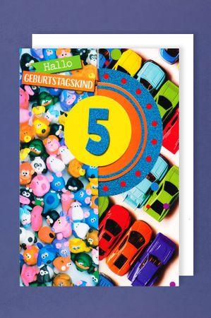 5 Geburtstag Junge Glitter Karte Grußkarte 3x klappbar Auto 16x11cm