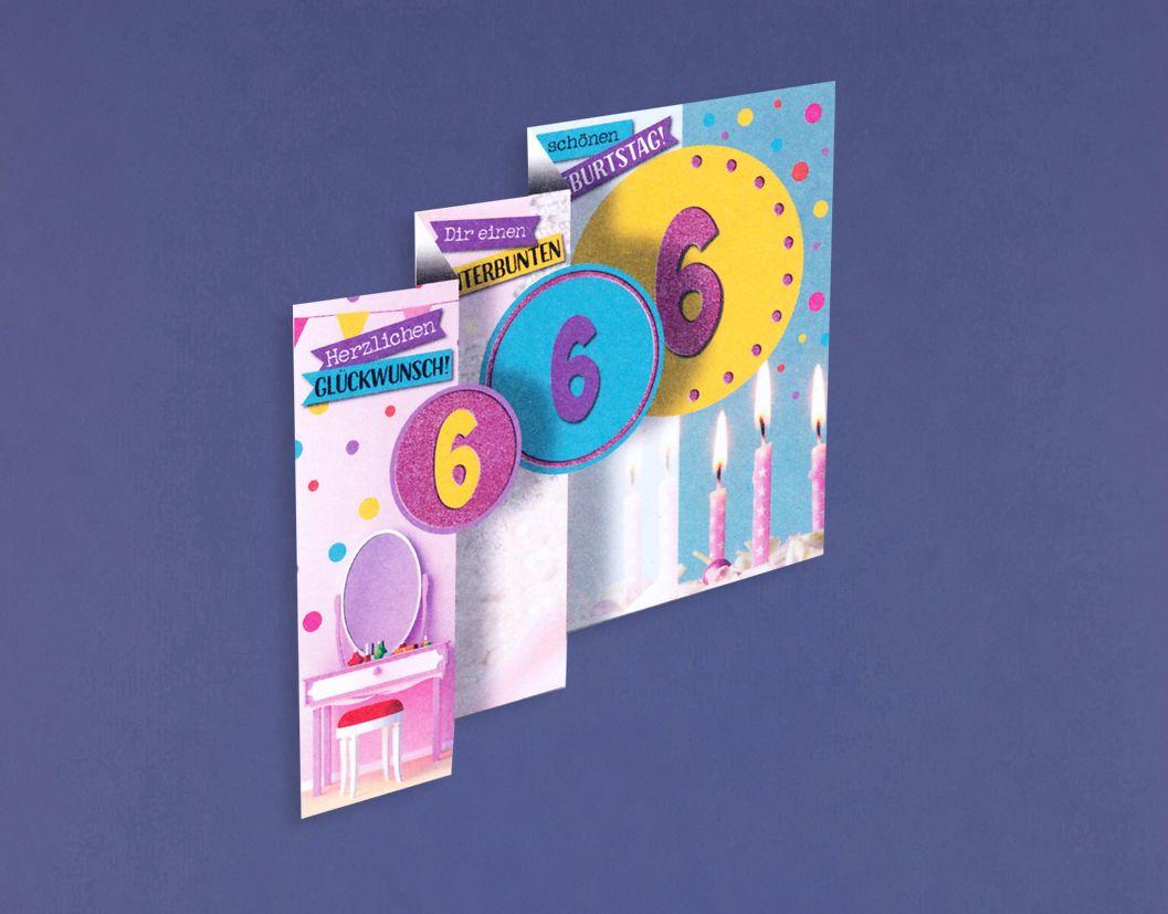 6 Geburtstag Mädchen Glitter Karte Grußkarte 3x klappbar Spiegel 16x11cm