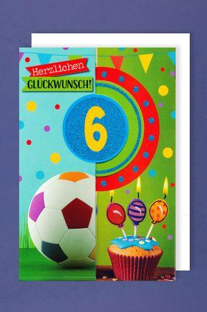 6 Geburtstag Junge Glitter Karte Grußkarte 3x klappbar Fußball 16x11cm
