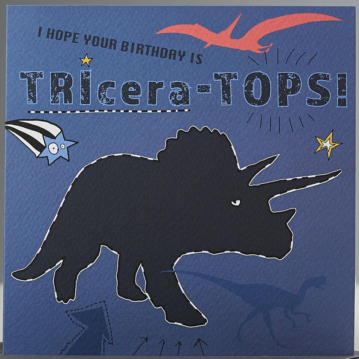 Dino Kinder Karte Geburtstag Grußkarte Tricera Dinosaurier 15x15cm