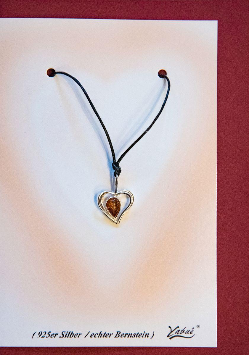 Bernstein Karte Yabue  echt 925er Silber Herz Anhänger Kette 16x11cm