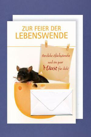 Lebenswende Jugendweihe Geld Karte Grußkarte Mäuse 16x11cm