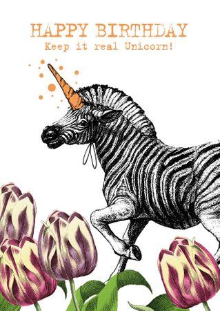 Geburtstag Karte pabuku skurille Grußkarte Birthday Unicorn 17x12cm