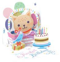 Pop Up 3D Karte Geburtstag Grußkarte Katze Korb 13x13cm