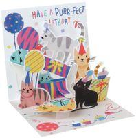 Pop UP 3D Karte Geburtstag Mini Grußkarte Katzen Party 7,6x7,6cm