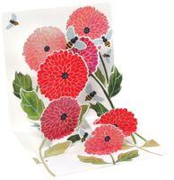 Pop UP 3D Karte Geburtstag Mini Grußkarte Blumen Dahlien 7,6x7,6cm