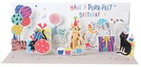 Pop Up 3D Panorama Karte Geburtstag Grußkarte Katzen Party 10x23cm