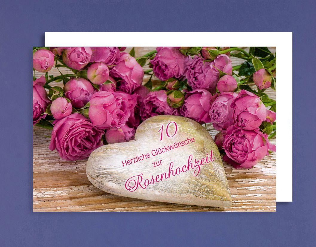 Rosen Hochzeit Karte Grußkarte Hochzeitstag 10 Jahre Holzherz 16x11cm 1 2 3 Geburtstag
