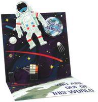 Pop Up 3D Karte mit LICHT Geburtstag Grußkarte Astronaut 13x13cm