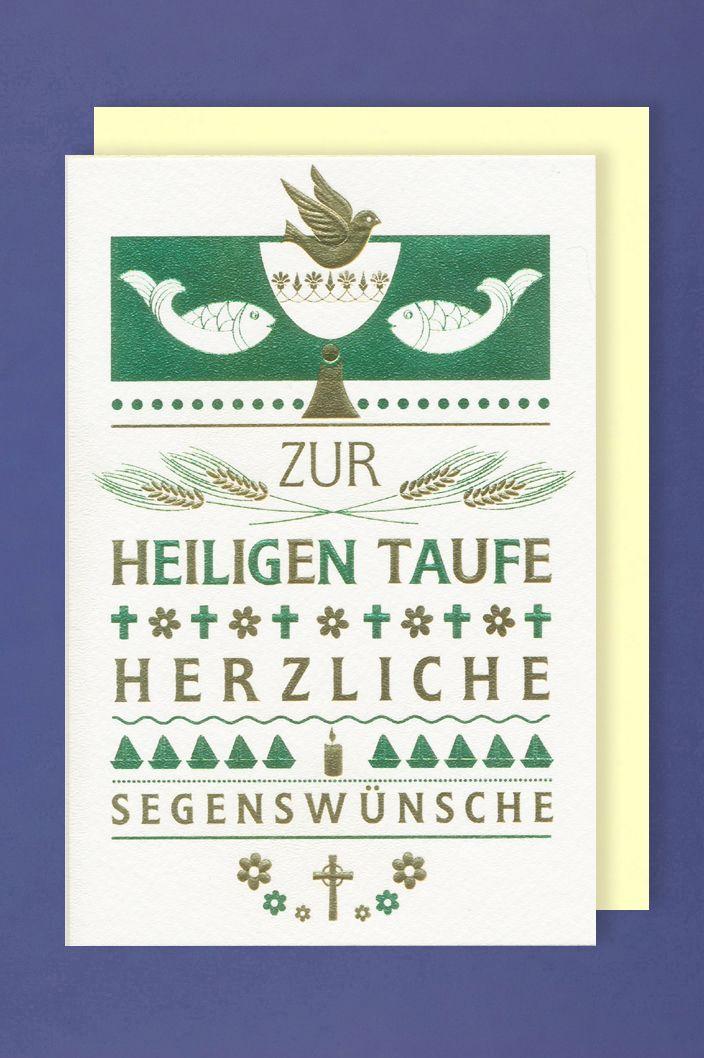 Heiligen Taufe Karte Grußkarte Metallicdruck Kelch Fische Taube 16x11cm 1 2 3 Geburtstag
