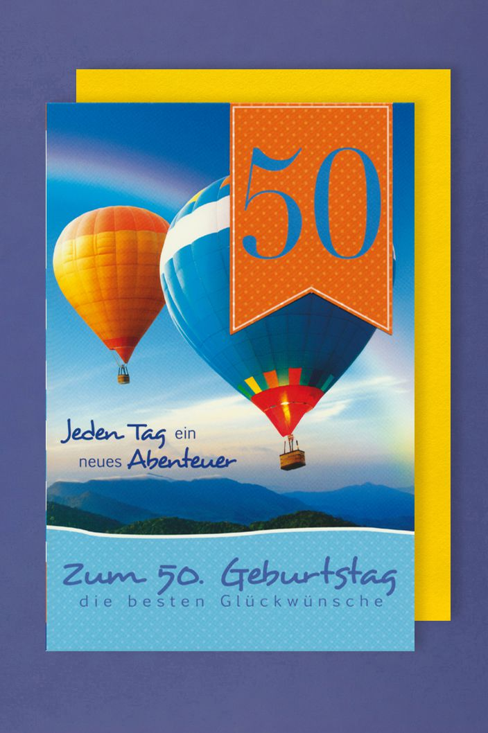 50 Geburtstag Karte.50 Geburtstag Karte Grußkarte Heißluftballon Applikation 16x11cm 1 2 3 Geburtstag