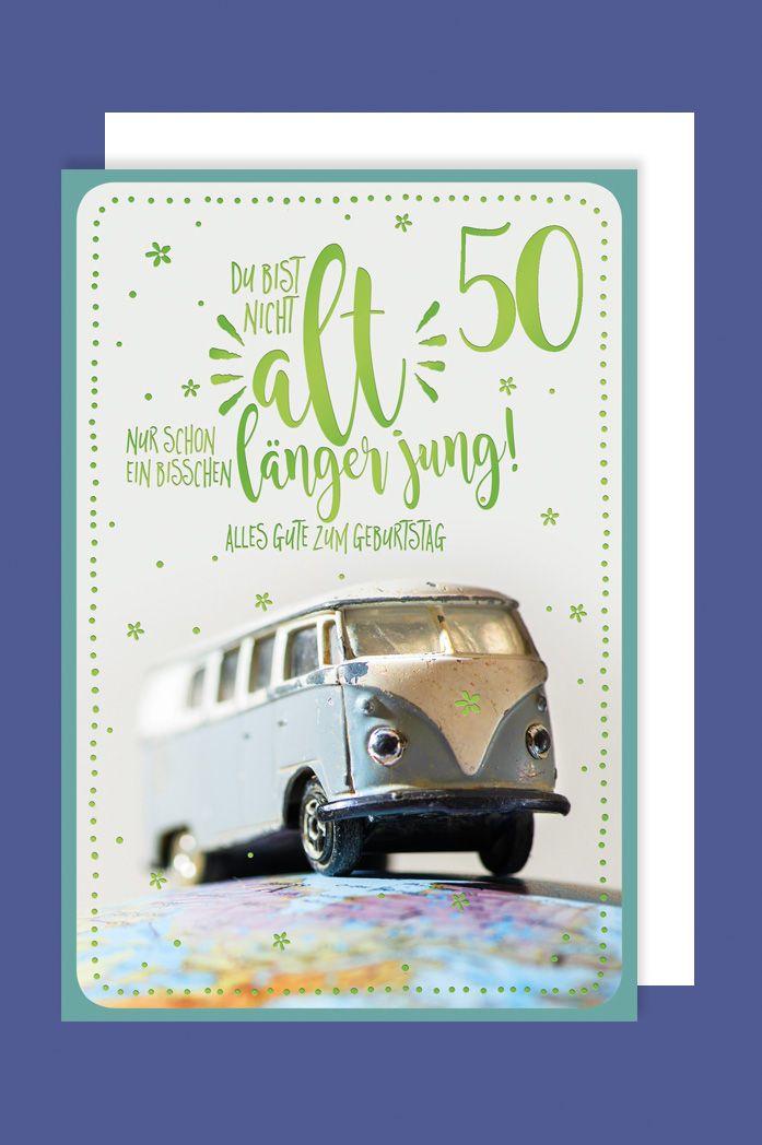 Karte 50 Geburtstag.50 Geburtstag Karte Grusskarte Abenteuer Vw Bus Foliendruck 16x11cm 1 2 3 Geburtstag