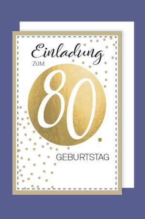 Einladungskarte 80 Geburtstag 5er Packung Ornamente Foliendruck 5 Karten 15x11cm